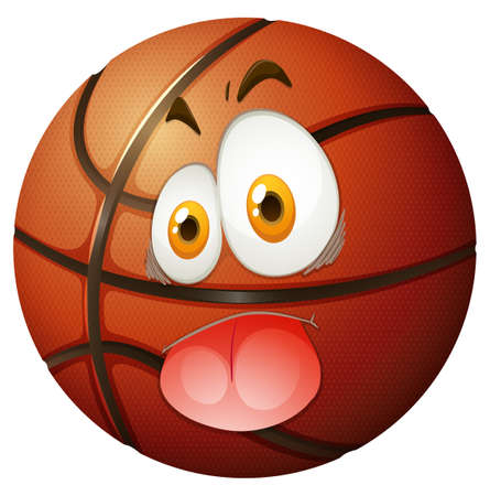 silly: Basketball with silly face illustration