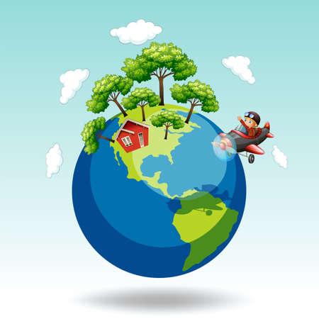 airplane world: Airplane riding around the world illustration Illustration