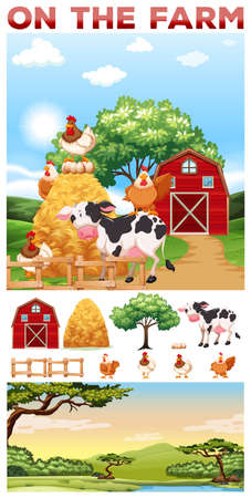rural scene: Farm animals living in the farm illustration Illustration
