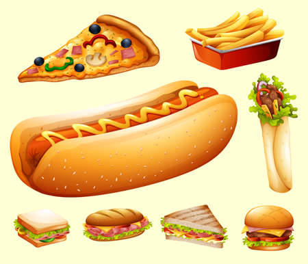 frankfurter: Food set with various kind of fastfood illustration