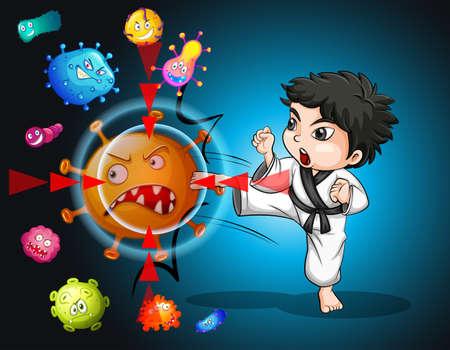 germs: Boy in karate suit kicking bacteria illustration Illustration