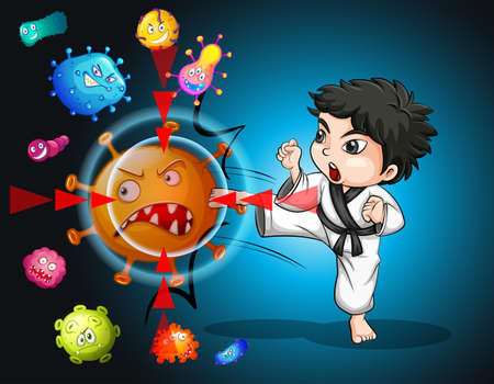 Boy in karate suit kicking bacteria illustration Illustration