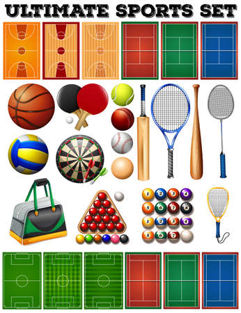 Sport equipments and courts illustration
