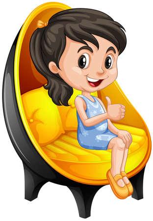 child sitting: Little girl sitting in modern chair illustration