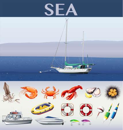 sea animals: Ocean scene with ships and sea animals illustration Illustration