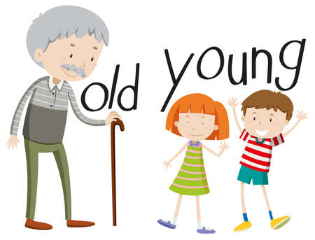 adjective: Opposite adjectives old and young illustration
