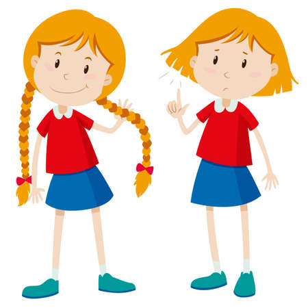 Girls with long hair and short hair illustration