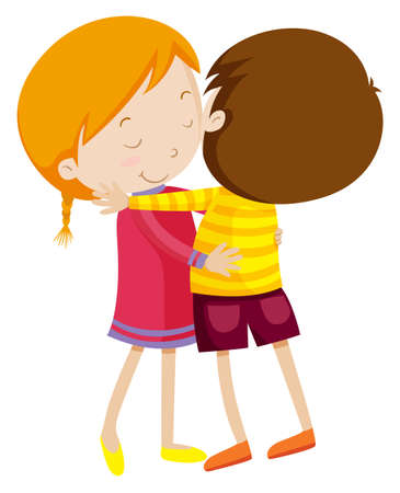 Boy and girl hugging illustration