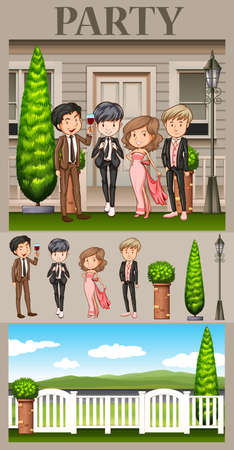 formal: People in formal dresses at the party illustration