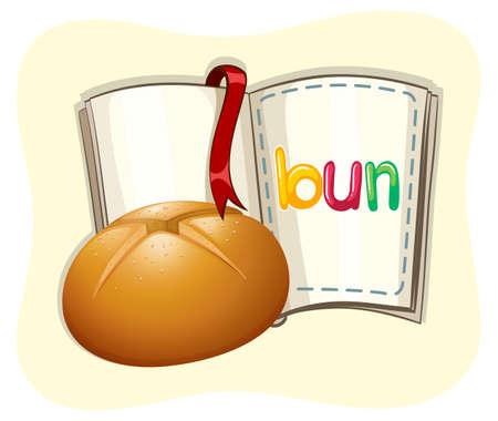 buns: Baked bun and a book illustration
