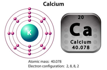 electron shell: Symbol and electron diagram for Calcium illustration Illustration