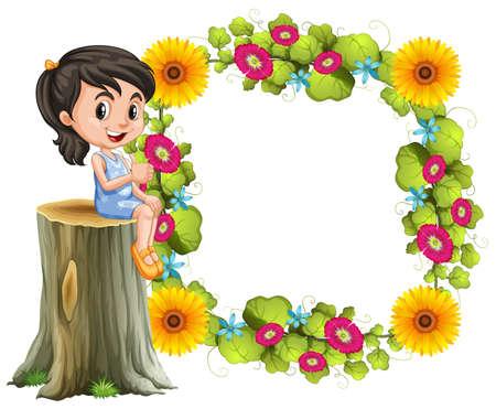 borde de flores: La niña y la ilustración de la frontera de la flor