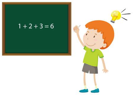 addition: Boy solving math problem illustration