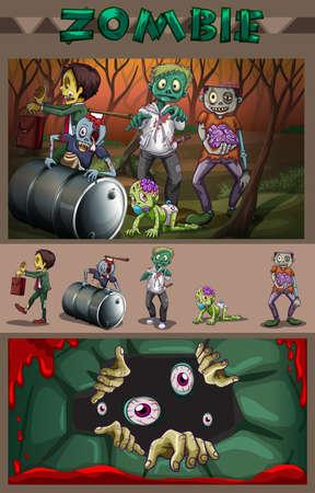dessin enfants: Zombies dans l'illustration de la forêt