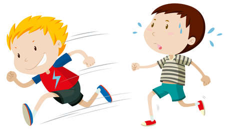 slow: Two boys running fast and slow illustration