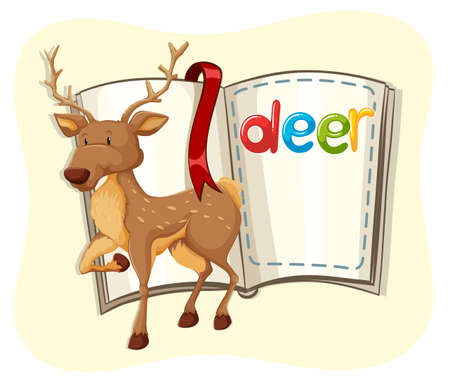 cute animal: Cute deer and a book illustration