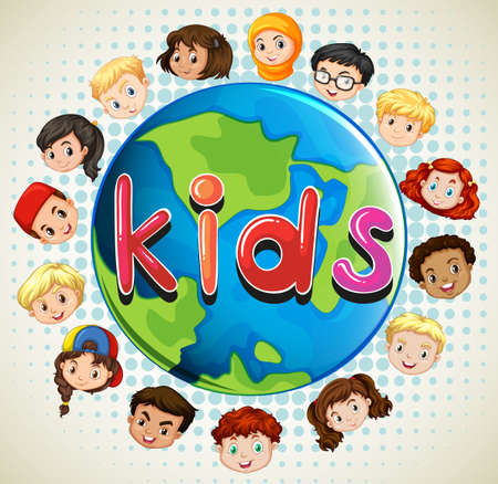 Boys and girls around the world illustration
