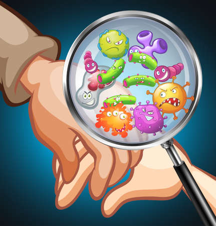 germs: Germs on human hands illustration