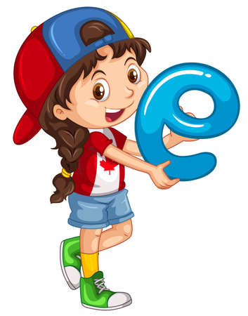 letters clipart: Little girl holding letter E illustration