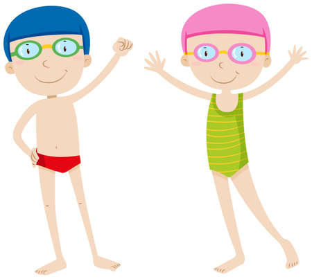 boy swim: Boy and girl in swimming suit illustration