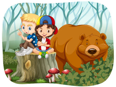 joven sentado: Boy and girl sitting with a bear illustration