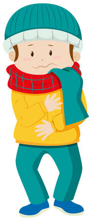 winter clothes: Man in winter clothes illustration Illustration