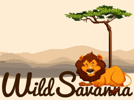 wild living: Wild Savanna theme with lion and tree illustration Illustration
