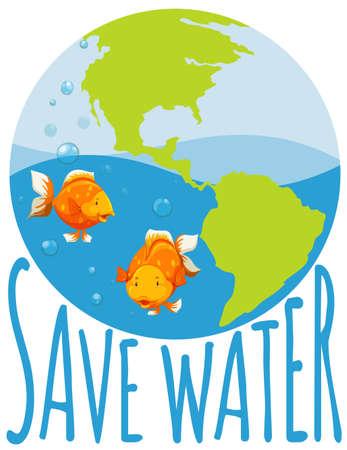 ahorrar agua: Save water theme with goldfish swimming illustration
