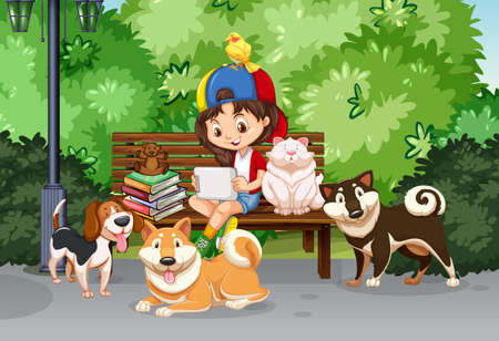 child and dog: Girl and pet in the park illustration