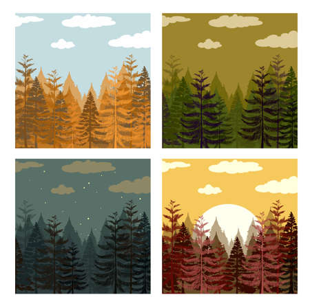 pine forest: Pine forest in four colors illustration