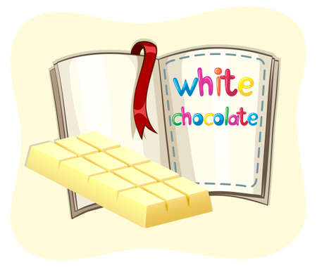 white chocolate: White chocolate bar and a book illustration Illustration