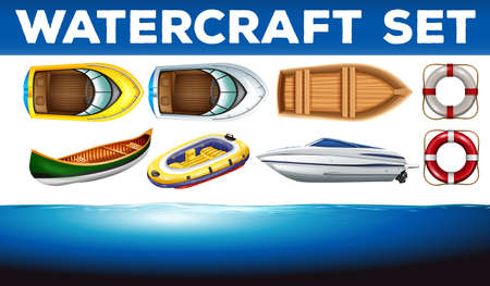 Different kind of watercrafts illustration