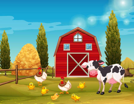 Farm animals living in the farm illustration. Stock Photo
