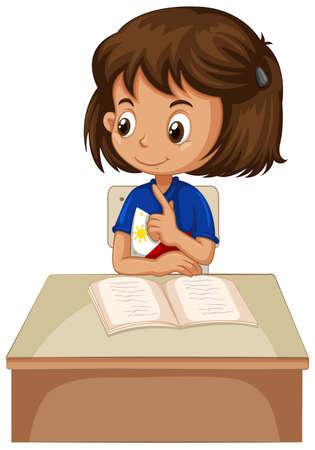child sitting: Little girl sitting on the chair illustration Illustration