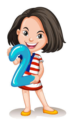 cartoon numbers: Little girl holding number two illustration