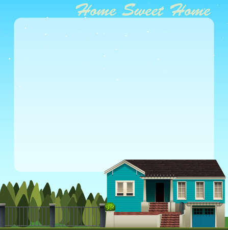 modern house: Border design with blue house illustration