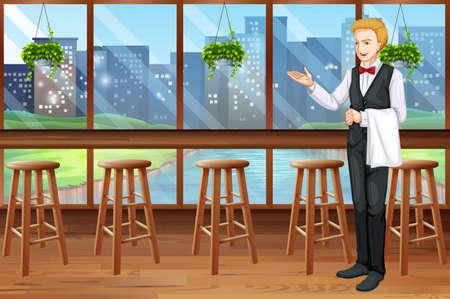 waiter: Waiter working in the restaurant illustration