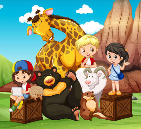 zoo youth: Children and wild animals in the field illustration Illustration