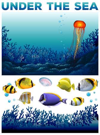 underwater scene: Underwater scene with fish and seaweed illustration