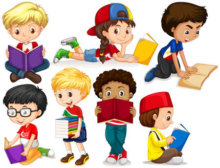 Boys and girl reading books illustration Ilustracja