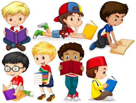 Boys and girl reading books illustration Illustration