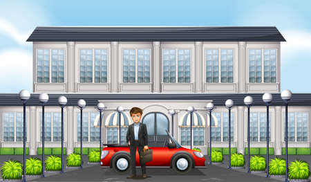 luxury cars: Man and private car in front of building illustration