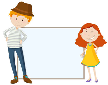 tall man: Tall man and short girl by the sign illustration