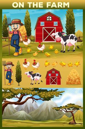 farmland: Farmer and animals on the farmland illustration Illustration