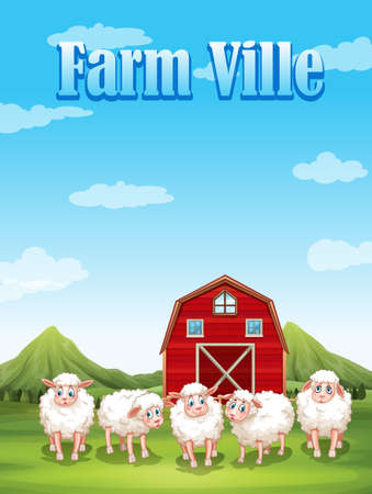 sheeps: Farm ville with sheeps and barn illustration