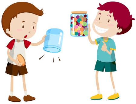 empty jar: Boys with empty jar and full jar illustration