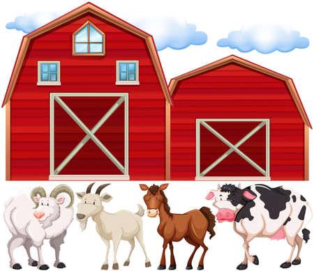 farmhouses: Farm animals and farmhouses illustration