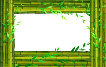 bamboo border: Border design with bamboo sticks illustration Illustration