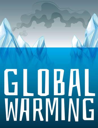 Global warming bord met ijs smelten illustratie