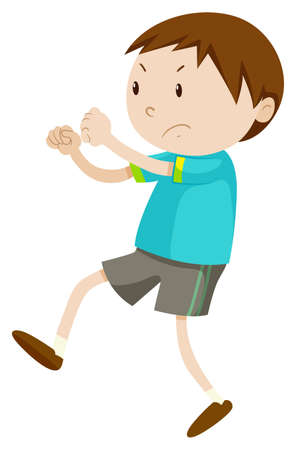 angry teenager: Little boy with angry face illustration